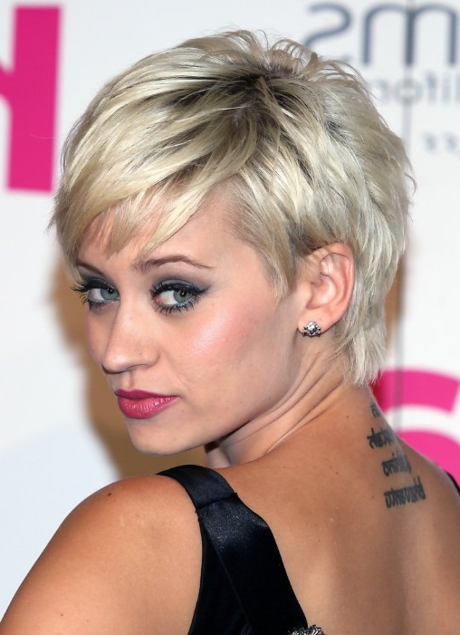 55 Super Hot Short Hairstyles 2017 – Layers, Cool Colors, Curls, Bangs Throughout Short Ruffled Hairstyles With Blonde Highlights (View 22 of 25)