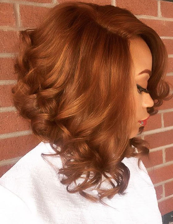60 Bob Haircuts For Black Women Inside Burnt Orange Bob Hairstyles With Highlights (View 17 of 25)