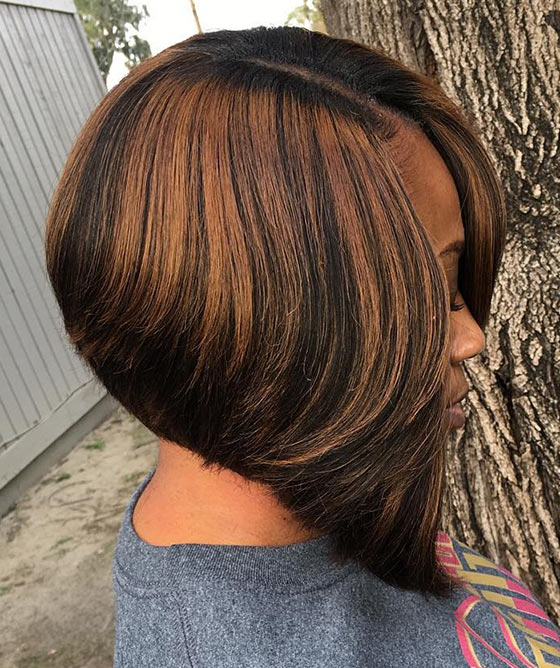 60 Bob Haircuts For Black Women Inside Honey Blonde Layered Bob Hairstyles With Short Back (Gallery 23 of 25)