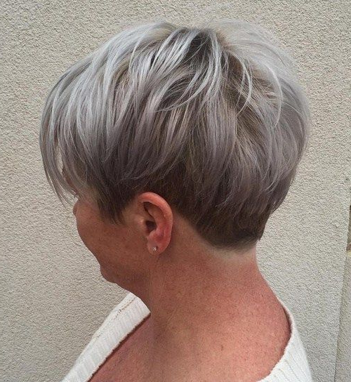 60 Gorgeous Gray Hair Styles In 2018 | Hair: 40+ | Pinterest | Short Throughout Short Ruffled Hairstyles With Blonde Highlights (Gallery 9 of 25)
