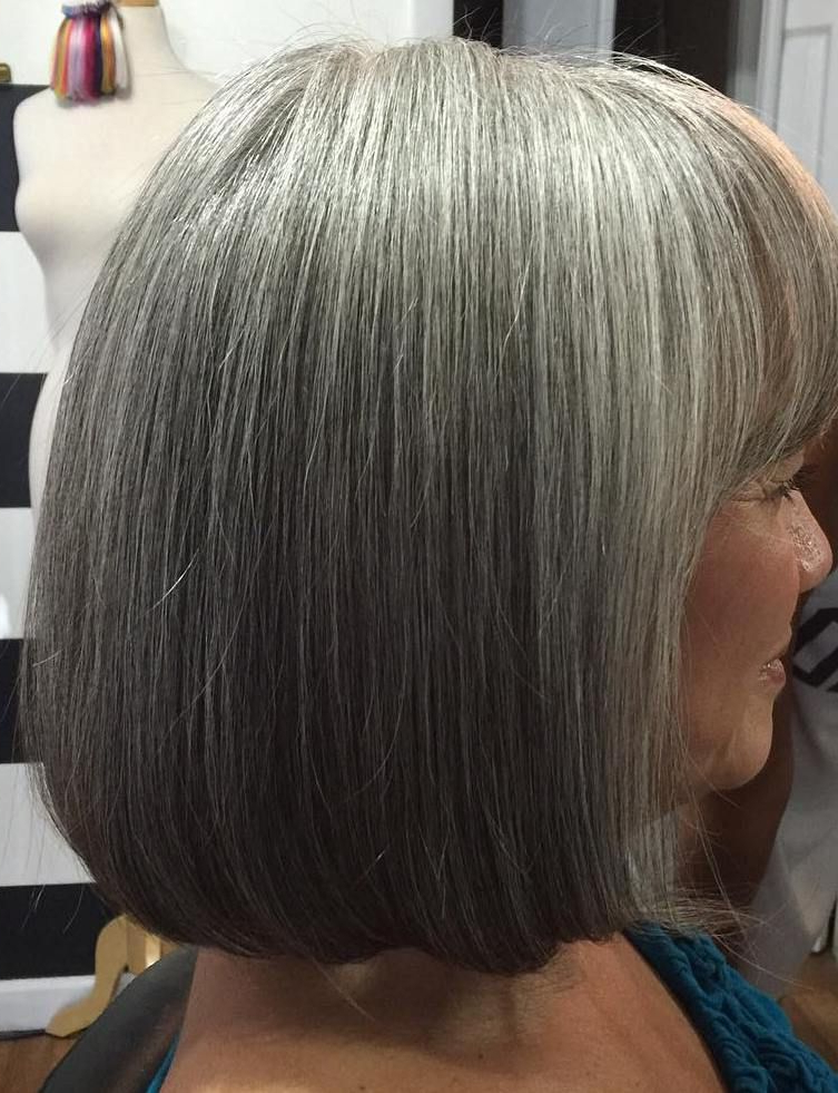 60 Gorgeous Gray Hair Styles In 2018 | Hair / Gray Hair / Silver Pertaining To Layered Tousled Salt And Pepper Bob Hairstyles (Gallery 9 of 25)