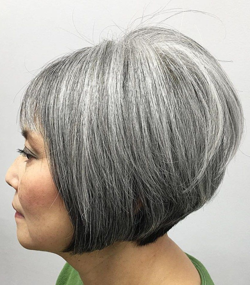 60 Gorgeous Gray Hair Styles In 2018 | Hair Styles | Pinterest In Layered Tousled Salt And Pepper Bob Hairstyles (View 2 of 25)