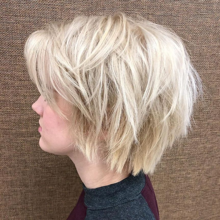 60 Short Shag Hairstyles That You Simply Can't Miss In 2018 | Hair Within Layered Platinum Bob Hairstyles (View 17 of 25)