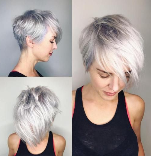 70 Cute And Easy To Style Short Layered Hairstyles In 2018 | Persona With Regard To Asymmetrical Silver Pixie Hairstyles (Gallery 6 of 25)