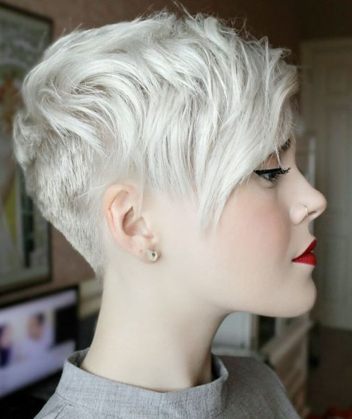 70 Short Shaggy, Spiky, Edgy Pixie Cuts And Hairstyles | Blonde Regarding Choppy Pixie Hairstyles With Tapered Nape (Gallery 8 of 25)
