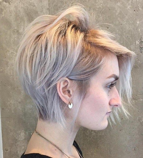 70 Short Shaggy, Spiky, Edgy Pixie Cuts And Hairstyles In 2018 Inside Choppy Blonde Pixie Hairstyles With Long Side Bangs (Gallery 3 of 25)