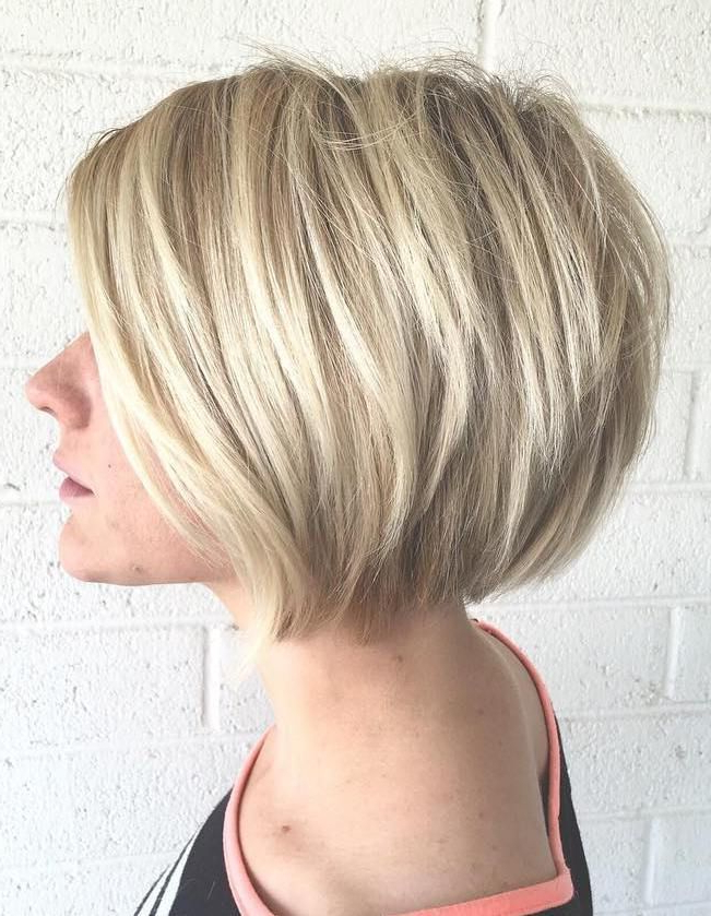 70 Winning Looks With Bob Haircuts For Fine Hair In 2018   Hair Inside Honey Blonde Layered Bob Hairstyles With Short Back (Gallery 8 of 25)