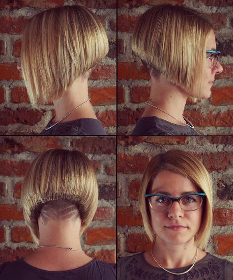 Angled Blond Bob With An Undercut And Hair Tattoo | Back View Assym Throughout Angled Undercut Hairstyles (Gallery 2 of 25)