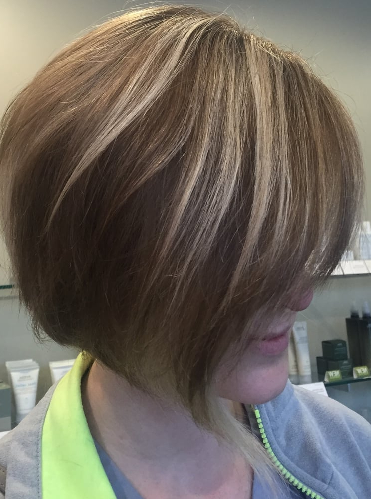 Angled Bob Haircut W/ Ash Blonde Balayage Highlights And Base Color Intended For Angled Ash Blonde Haircuts (Gallery 13 of 25)
