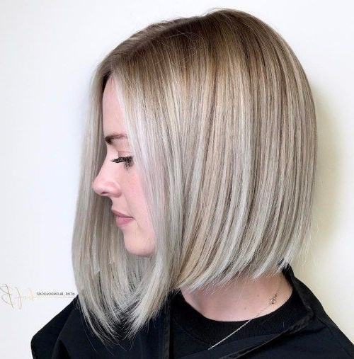 Ash Blonde Angled Bob For Straight Hair | Hairstyles | Pinterest Within Angled Ash Blonde Haircuts (Gallery 1 of 25)