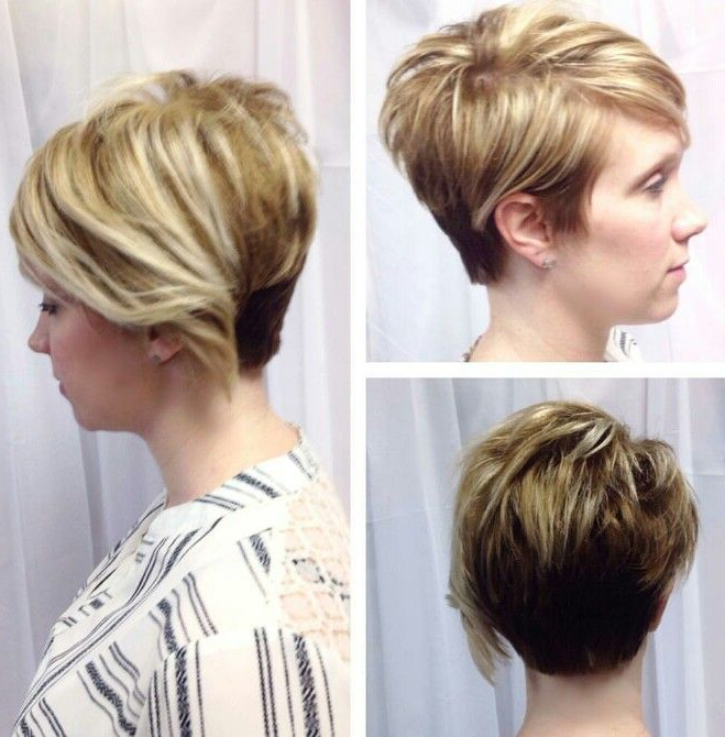 Blonde Asymmetrical Pixie Cut With Long Bangs Textured With Razor Pertaining To Asymmetrical Pixie Bob Hairstyles (View 6 of 25)