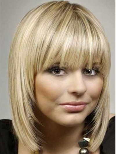 Blonde Bob Hairstyles Wig With Bangs, Cheap Medium Bob Wigs For Blonde Bob Hairstyles With Bangs (View 14 of 25)