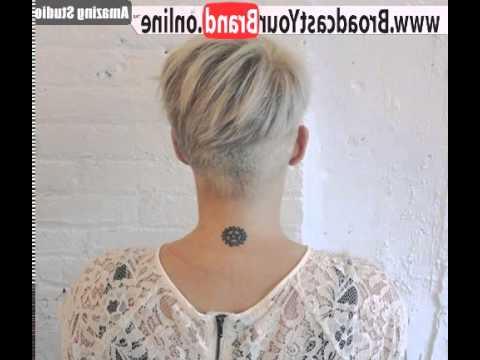 Blonde Pixie With Nape Undercut – Youtube Inside Pixie Bob Hairstyles With Nape Undercut (View 19 of 25)