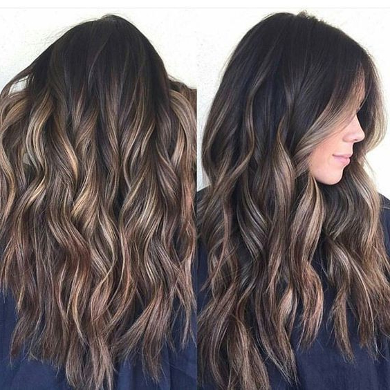 Curly Long Hair Styles For Thick Hair – Hot Chocolate Balayage Regarding Chic Chocolate Layers Hairstyles (View 25 of 25)
