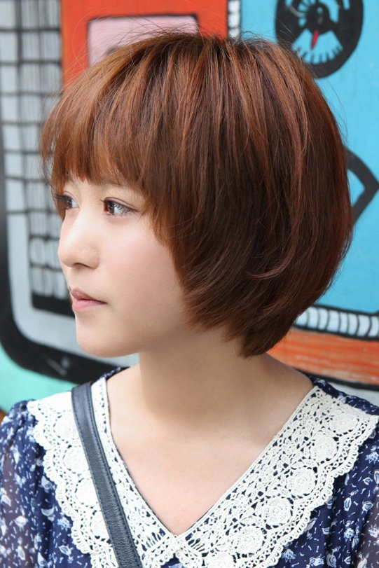 Cute Korean Short Haircut: Layered Bob With Feathered Ends & Fringe Throughout Short Bob Hairstyles With Feathered Layers (View 20 of 25)