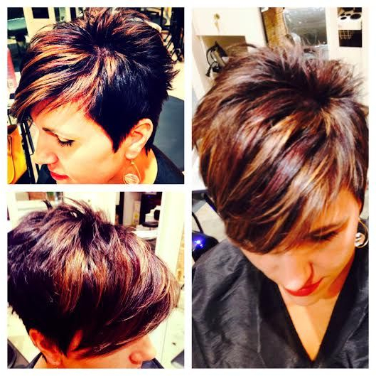Dark Brown With Warm Highlights | Hair Ideas In 2018 | Pinterest intended for Messy Pixie Hairstyles With Chunky Highlights