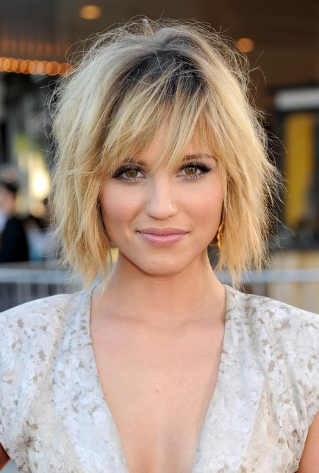 Dianna Agron Layered Short Ombre Bob Hairstyle With Bangs Inside Blonde Bob Hairstyles With Bangs (View 15 of 25)