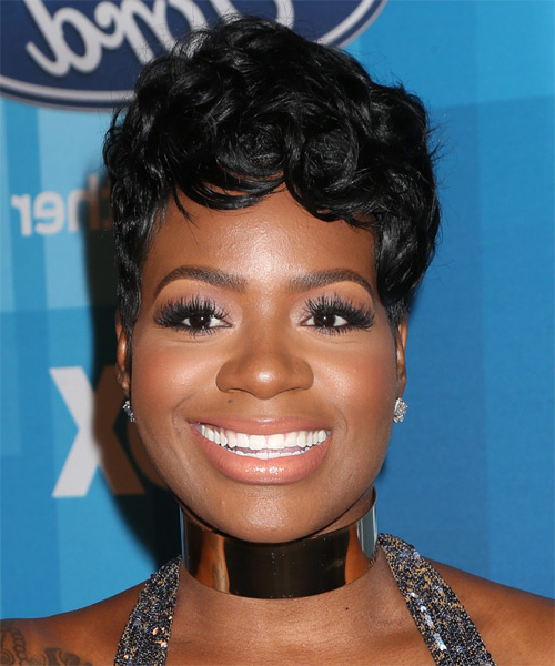 Fantasia Barrino Short Wavy Formal Pixie Hairstyle With Side Swept pertaining to Cropped Gray Pixie Hairstyles With Swoopy Bangs