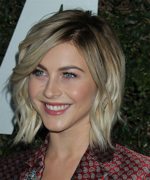 Julianne Hough Medium Wavy Casual Hairstyle – Ash Blonde Hair Color Inside Long Ash Blonde Pixie Hairstyles For Fine Hair (View 23 of 25)