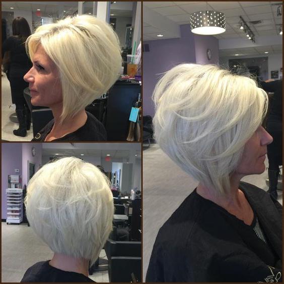 Layered Angled Bobgia Platinum Blonde@adelleandrade Inside Layered Platinum Bob Hairstyles (View 13 of 25)