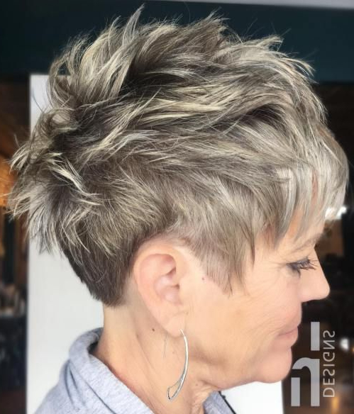 Messy Salt And Pepper Pixie #shorthairstyles | Short Hairstyles In Messy Salt And Pepper Pixie Hairstyles (View 2 of 25)