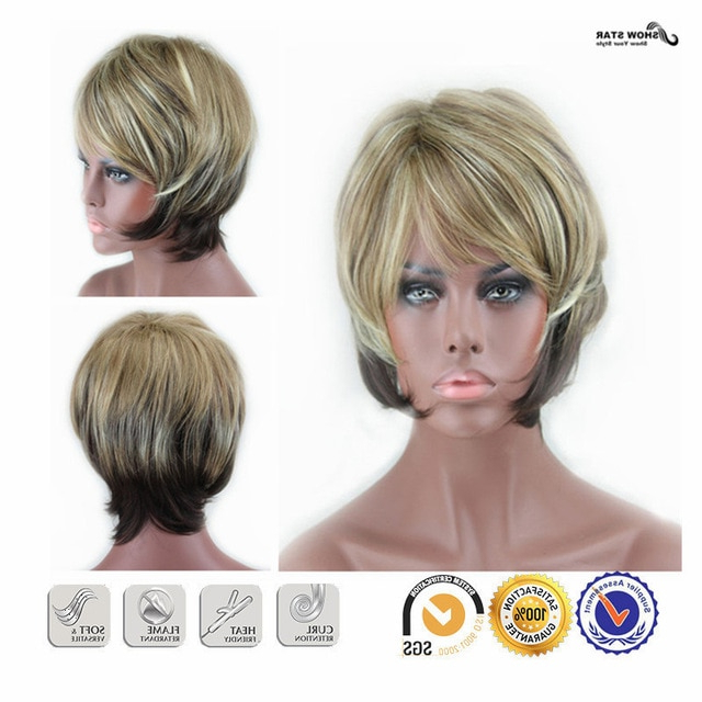 New Stylish Synthetic Wigs Pixie Cut Wig Short Straight Hair Brown regarding Pixie Bob Hairstyles With Soft Blonde Highlights