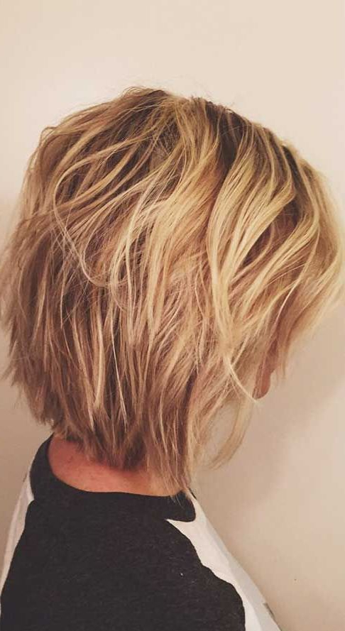 Picture Of Short Layered Balayage Blonde Haircut With Regard To Blonde Balayage Bob Hairstyles With Angled Layers (View 11 of 25)