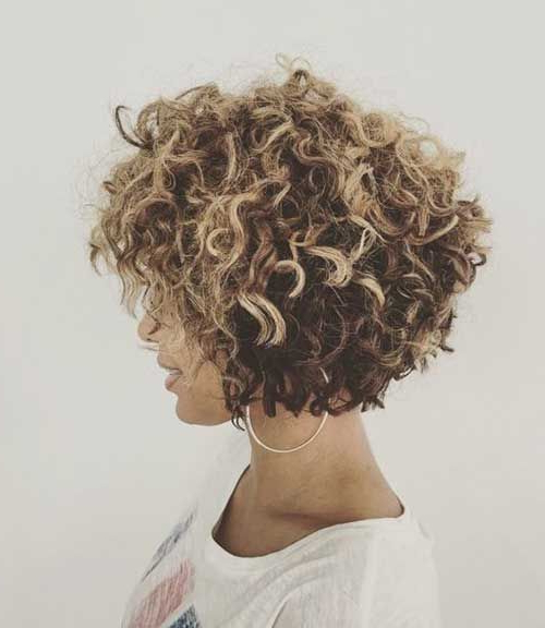 Pinsherry Thompson On Hair In 2018 | Pinterest | Curly Hair For Short Ruffled Hairstyles With Blonde Highlights (View 15 of 25)
