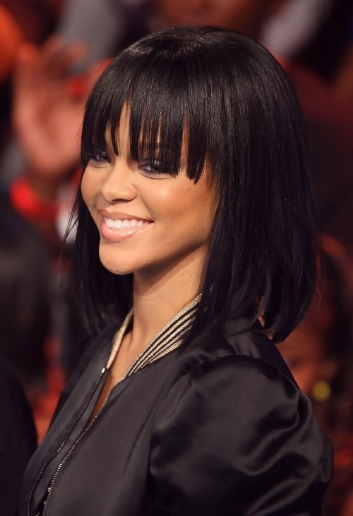 Rihanna Long Straight Bob Hairstyle With Bangs For Girls With Regard To Straight Bob Hairstyles With Bangs (View 20 of 25)