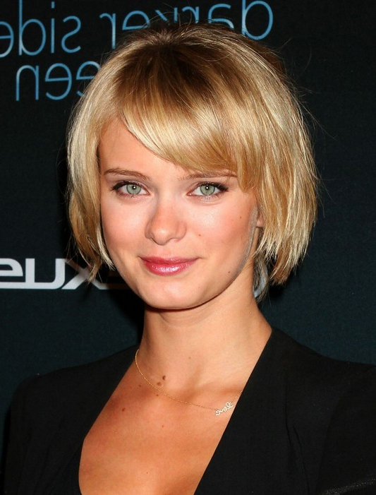 Short Hairstyle For 2014: Layered Golden Bob With Bangs: Sara Regarding Layered Pixie Hairstyles With Textured Bangs (View 15 of 25)