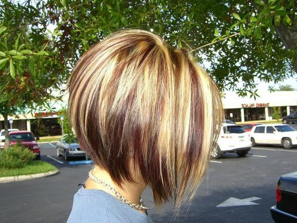Short Inverted Bob Cut With Red Blonde & Brown Highlights With Brown And Blonde Graduated Bob Hairstyles (View 23 of 25)