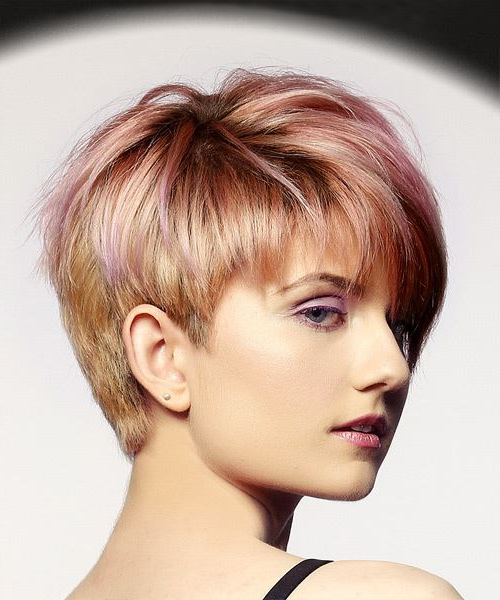Short Straight Alternative Pixie Hairstyle With Layered Bangs – Pink Inside Textured Pixie Hairstyles With Highlights (View 10 of 25)