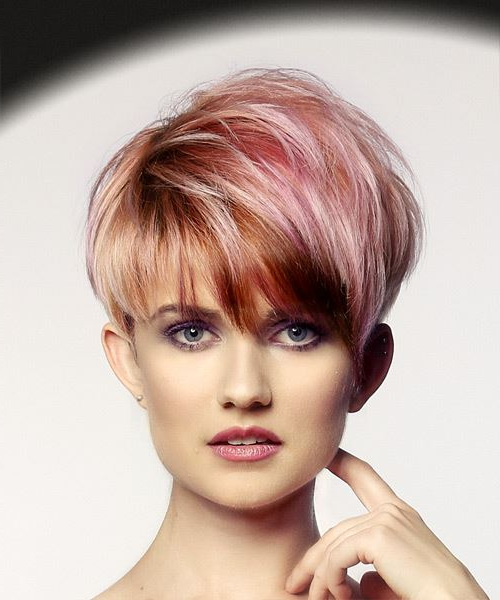 Short Straight Alternative Pixie Hairstyle With Layered Bangs – Pink Pertaining To Textured Pixie Hairstyles With Highlights (View 14 of 25)