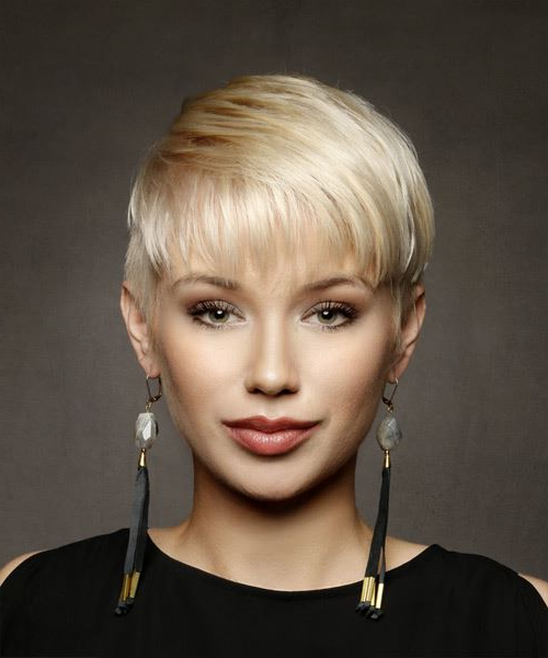 Short Straight Casual Pixie Hairstyle With Layered Bangs – Light Regarding Layered Pixie Hairstyles With Textured Bangs (View 8 of 25)