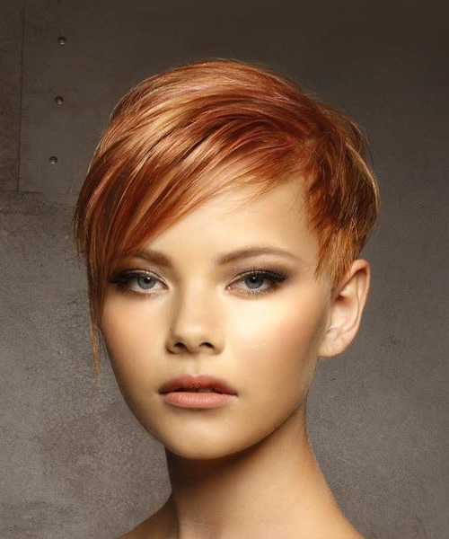 Short Straight Casual Pixie Hairstyle With Side Swept Bangs – Red With Pixie Bob Hairstyles With Blonde Babylights (View 22 of 25)