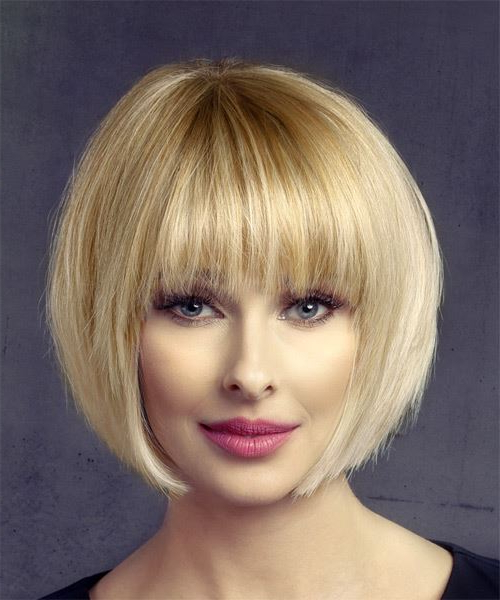 Short Straight Formal Bob Hairstyle With Layered Bangs – Light Honey With Blonde Bob Hairstyles With Bangs (View 10 of 25)