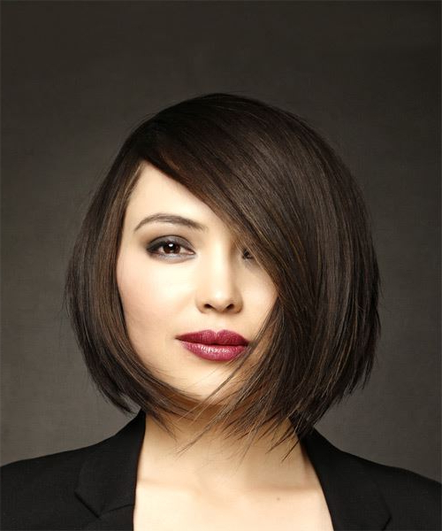Short Straight Formal Bob Hairstyle With Side Swept Bangs – Dark Inside Straight Bob Hairstyles With Bangs (View 14 of 25)