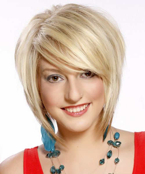 Short Straight Formal Layered Bob Hairstyle With Side Swept Bangs Pertaining To Layered Platinum Bob Hairstyles (View 10 of 25)