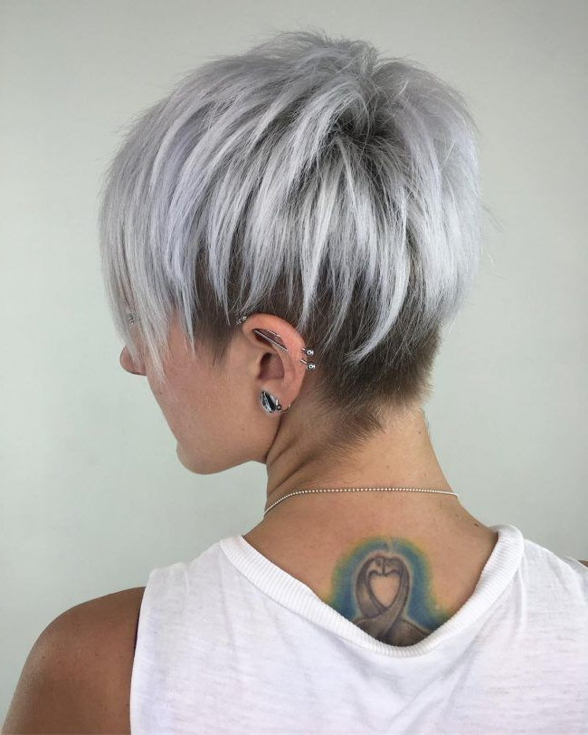 Silver Pixie Cut With Layered Lowlights … | Hair In 2018… Intended For Gray Pixie Hairstyles For Thick Hair (View 3 of 25)