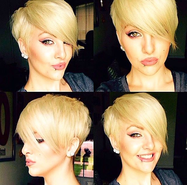 Styled Pixie With Long, Side Swept Bangs … | Hairstyles In 2018… With Cropped Gray Pixie Hairstyles With Swoopy Bangs (View 2 of 25)