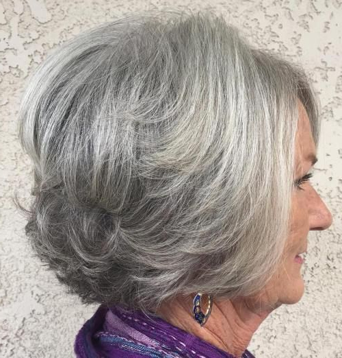 The Best Hairstyles And Haircuts For Women Over 70 | Hair For Layered Tousled Salt And Pepper Bob Hairstyles (View 4 of 25)