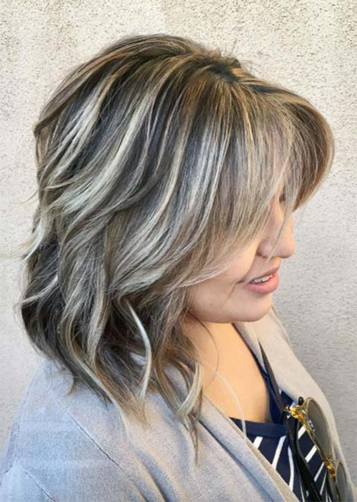 Top 51 Haircuts & Hairstyles For Women Over 50 – Glowsly In Gray Hairstyles With High Layers (View 8 of 25)
