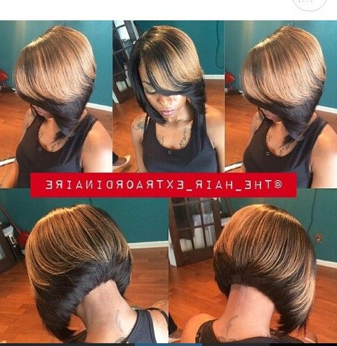 Two Tones, Ombre, Gold On Black, Bob | Hair (Color, Natural, Etc In Inside Voluminous Two Tone Haircuts (View 17 of 25)