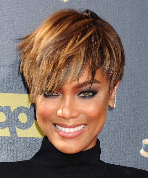 Tyra Banks Short Straight Casual Layered Pixie Hairstyle – Golden In Textured Pixie Hairstyles With Highlights (View 24 of 25)