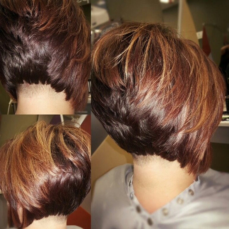 Undercut Stacked Bob With High Lights And Low Lights ?? More Inside Rounded Bob Hairstyles With Stacked Nape (View 25 of 25)