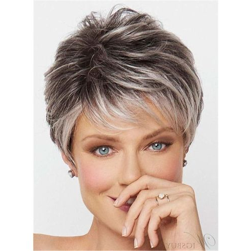 Vova | Salt And Pepper Short Choppy Layered Synthetic Capless Wigs Throughout Messy Salt And Pepper Pixie Hairstyles (View 23 of 25)