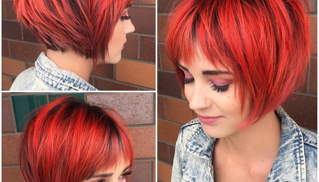 Women's Choppy Red Graduated Bob With Fringe Bangs And Black Shadow With Black Choppy Pixie Hairstyles With Red Bangs (View 8 of 25)