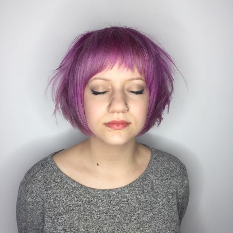 Women's Messy Pink Graduated Pixie Bob With Fringe Inside Messy Pixie Bob Hairstyles (View 24 of 25)