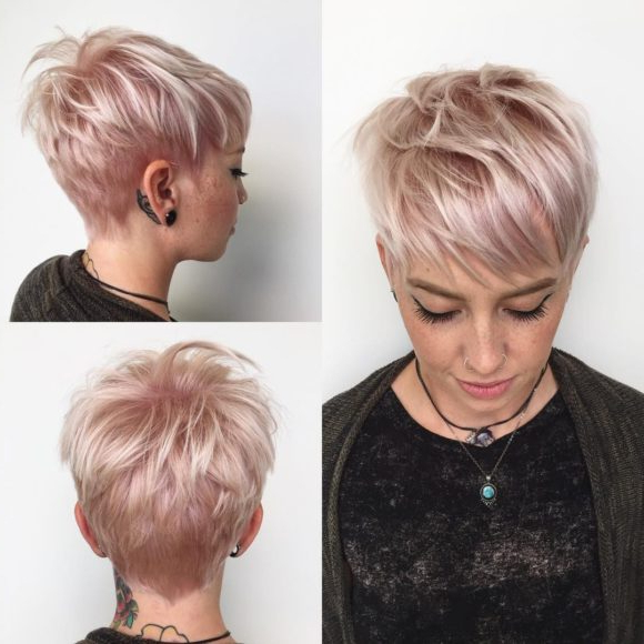 Women's Platinum Messy Textured Bob With Choppy Bangs And Neon Within Pixie Bob Hairstyles With Soft Blonde Highlights (View 4 of 25)
