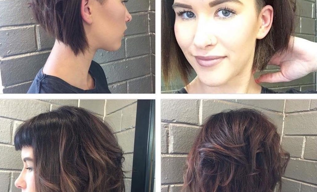Women's Short Angled Undercut Bob With Messy Waves And Baby Fringe Bangs With Regard To Angled Undercut Hairstyles (View 23 of 25)